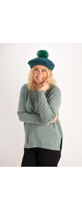 Helen Moore Pom Pom Faux Fur Beret Turquoise/Sea Green