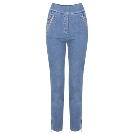 Robell Nena 09 Light Denim Ankle Zip Cropped Powerstretch Jean - Blue