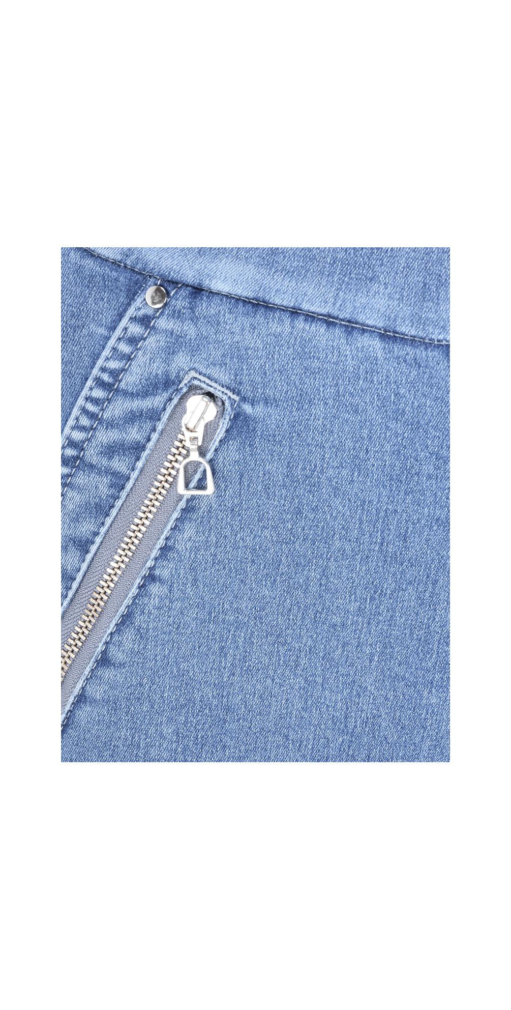 Nena 09 Light Denim Ankle Zip Cropped Powerstretch Jean main image