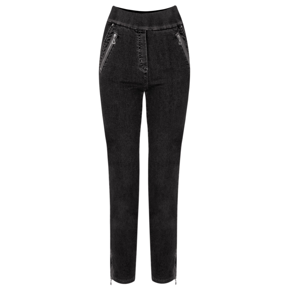 Robell Nena 09 Black Ankle Zip Cropped Powerstretch Jean Black 90