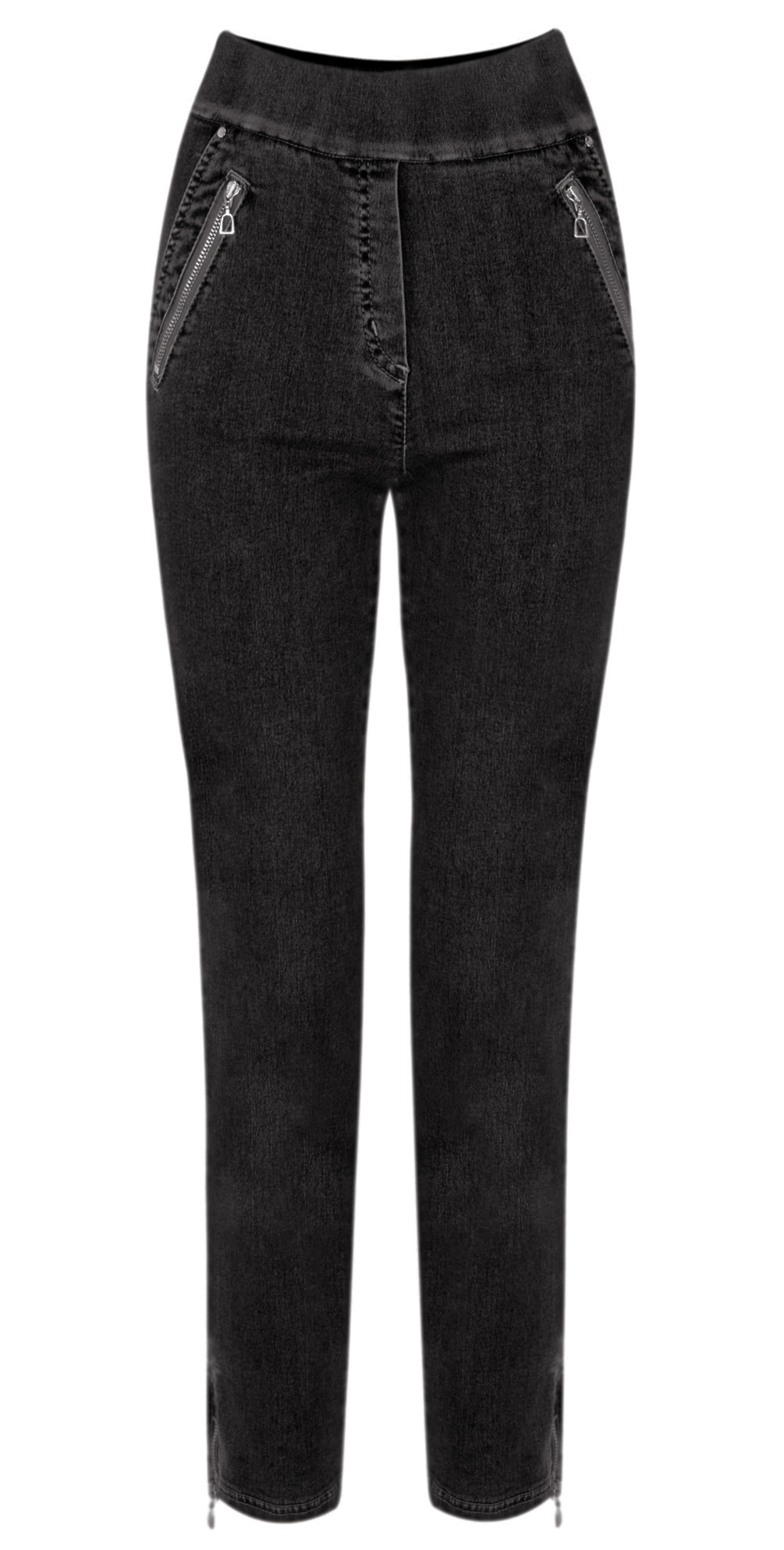 Nena 09 Black Ankle Zip Cropped Powerstretch Jean main image