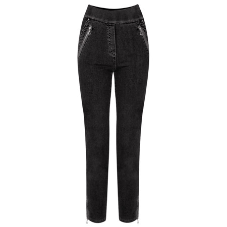 Robell Nena 09 Black Ankle Zip Cropped Powerstretch Jean - Black
