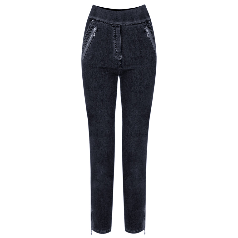 Robell  Nena 09 Ankle Zip Cropped Powerstretch Jeans Navy 69
