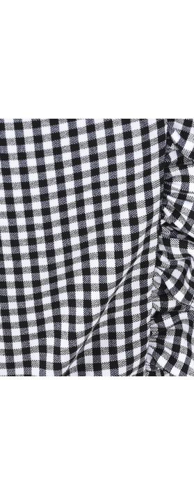 Robell Rose 09 7/8 Gingham Frill Cropped Trouser Black 90