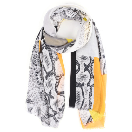 Butterfly Hudie Penni Patched Animal Print Scarf - Yellow