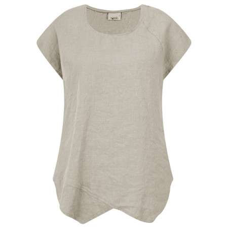 Thing Linen Asymmetric Hem Top - Beige