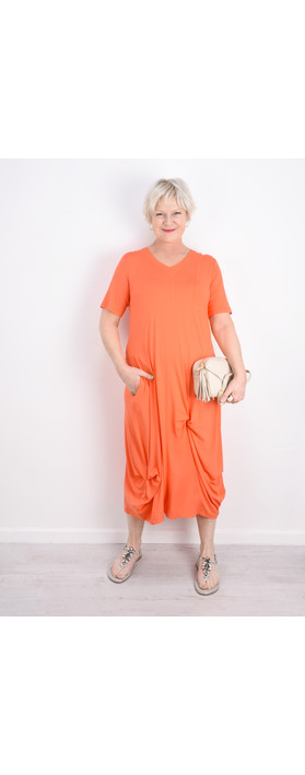Foil Soft Focus Twist Front Dress Tangerine