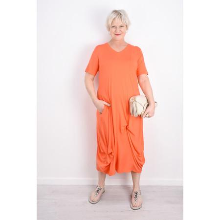 Foil Soft Focus Twist Front Dress - Orange