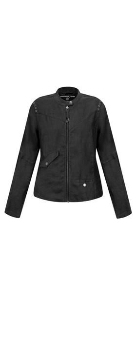 Sandwich Clothing Linen Biker Jacket Almost Black