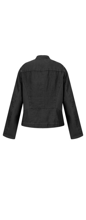 Sandwich Clothing Linen Biker Jacket Almost Black