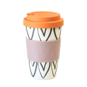 Caroline Gardner Hearts Outline Bamboo Reusable Coffee Cup