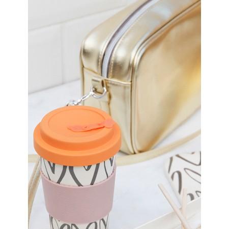 Caroline Gardner Hearts Outline Bamboo Reusable Coffee Cup - Orange