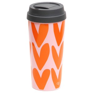 Caroline Gardner Pink & Orange Hearts Thermal Travel Mug
