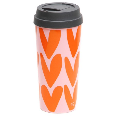Caroline Gardner Pink & Orange Hearts Thermal Travel Mug - Orange