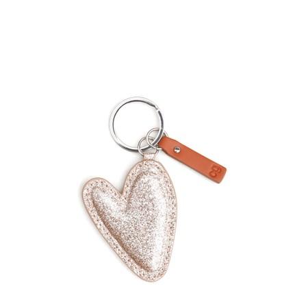 Caroline Gardner Gold Glitter Heart Padded Keyring - Gold