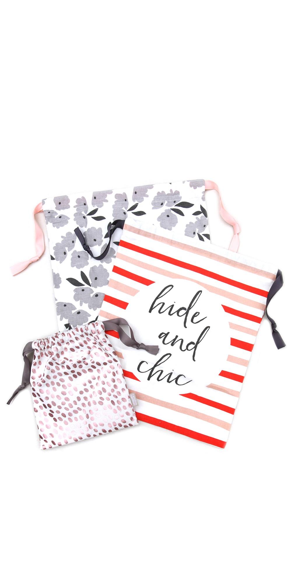 Striped Drawstring Travel Bag Set main image