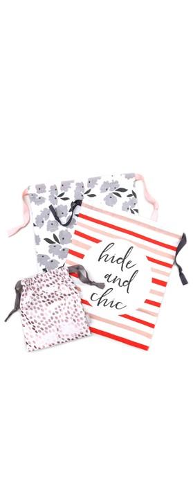 Caroline Gardner Striped Drawstring Travel Bag Set Pink