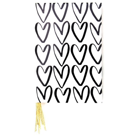 Caroline Gardner Outline Hearts Multi Ribbon Journal Notebook - Black