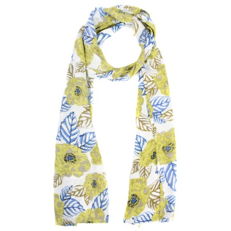 Masai Clothing Along Lime Floral Print Scarf  - Green