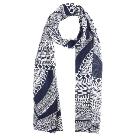 Masai Clothing Along Abstract Line Print Scarf - Blue