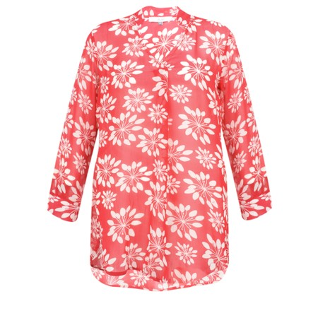 Adini Grass Lily Print Carolee Tunic - Red