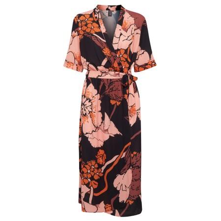 ICHI Chelseo Print Wrap Dress - Black