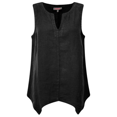 Sahara Organza Linen Asymmetric Vest - Black