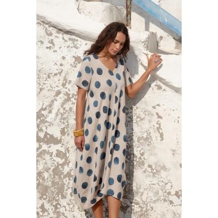 Sahara Painters Spot Linen Bubble Dress - Blue