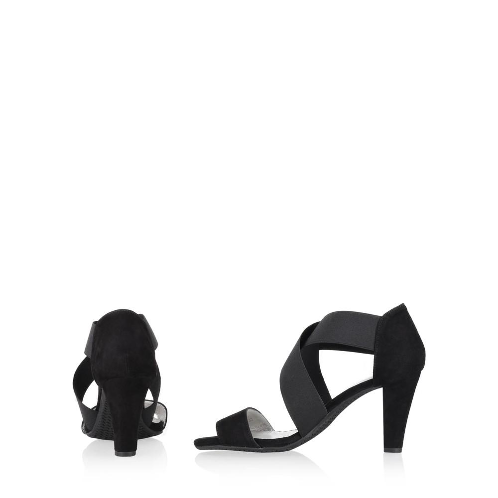 Gemini Label Shoes Vesta Black Suede Sandal Black