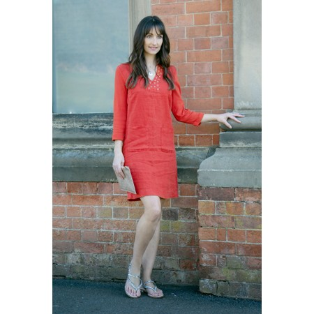 Sandwich Clothing Linen eyelet detail shirt dress - Red