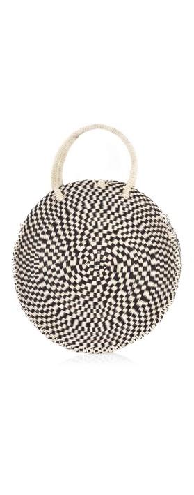 Betsy & Floss Antibes Round Basket Bag Black/Natural