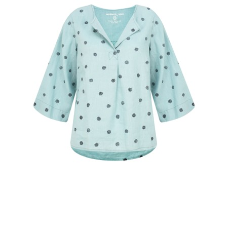 Sandwich Clothing Linen Dot Print Top - Green