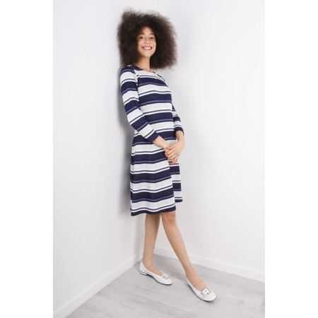 Sandwich Clothing Dot Jacquard Striped Dress - Blue