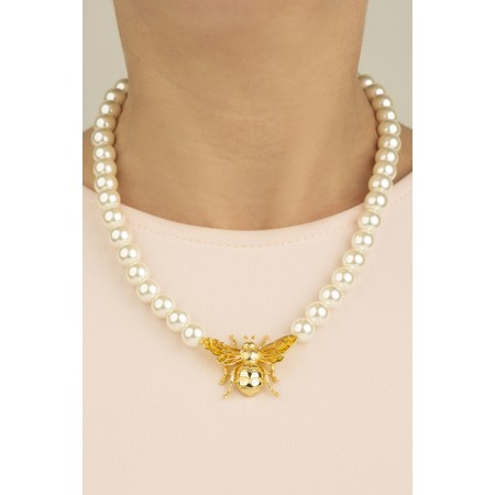 Bill Skinner Bombus Bee Pearl Necklace  - Off-White