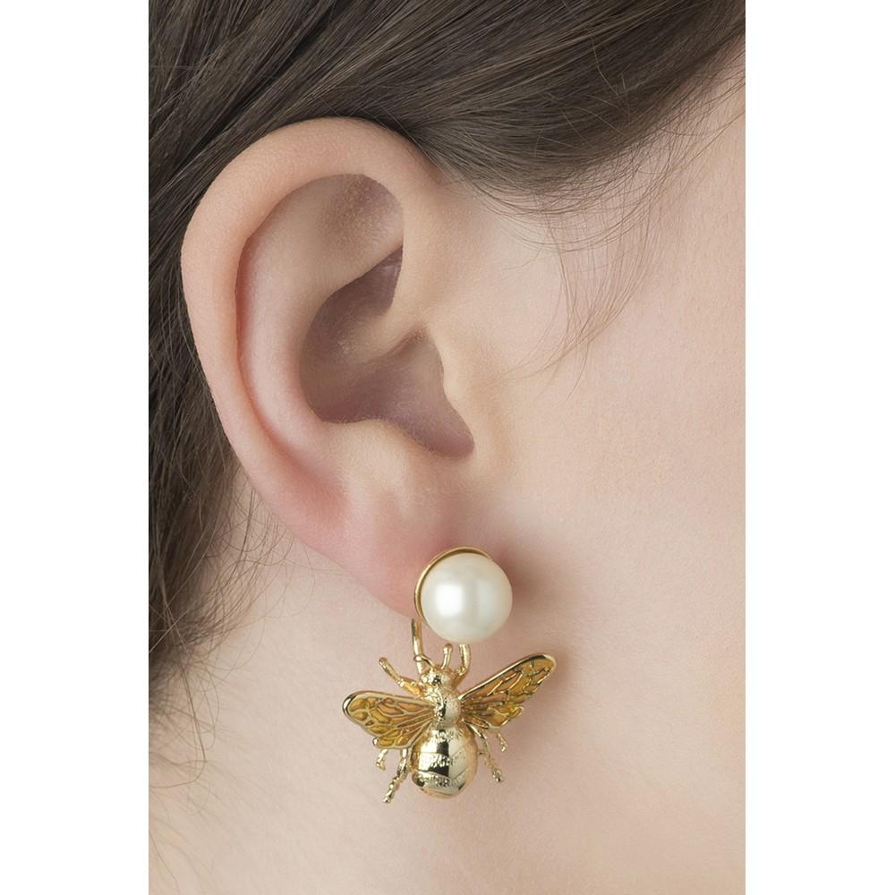 Bill Skinner Colletidae Bee Pearl Drop Earring Gold