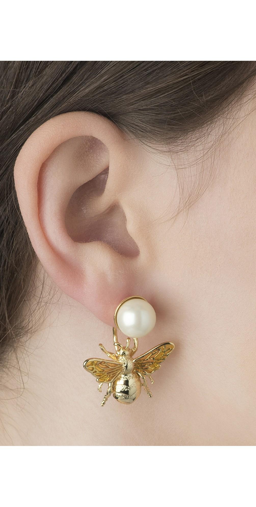 Colletidae Bee Pearl Drop Earring main image