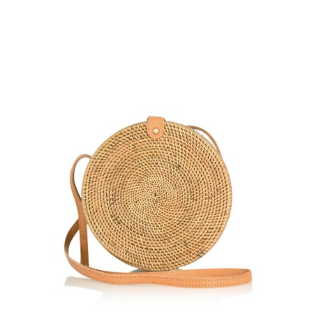 Betsy & Floss Palermo Round Basket Bag - Brown