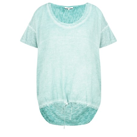 Sandwich Clothing Drawstring Hem Cotton Slub Top - Green