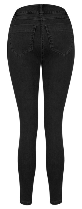 Robell Star 09 Black Power Stretch Cropped Skinny jean Black