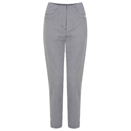 Robell Trousers Bella 09 Gingham Check Cropped Trouser - Black