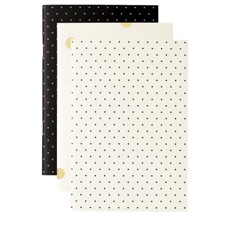 Kate Spade Black Dot Triple Notebook Set - Black