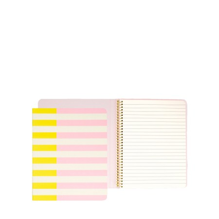 Kate Spade Two-Tone Stripes Concealed Spiral Notebook - Pink