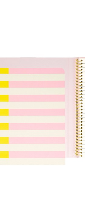Kate Spade Two-Tone Stripes Concealed Spiral Notebook Pink/Yellow