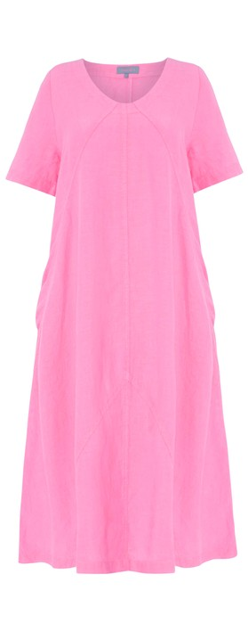 Sahara Panelled A-Line Linen Dress Azalea Pink