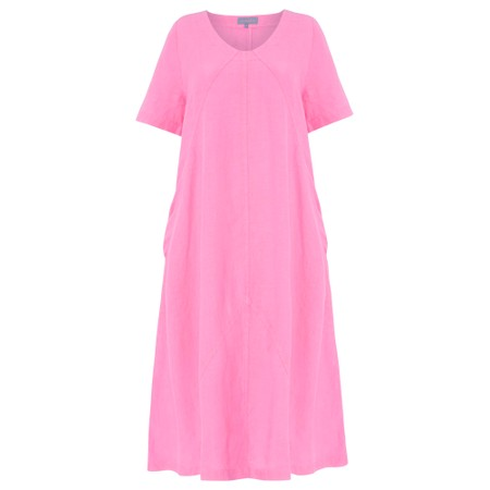 Sahara Panelled A-Line Linen Dress - Pink
