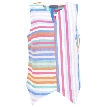 Sahara Stripe Linen Sleeveless Top - Multicoloured