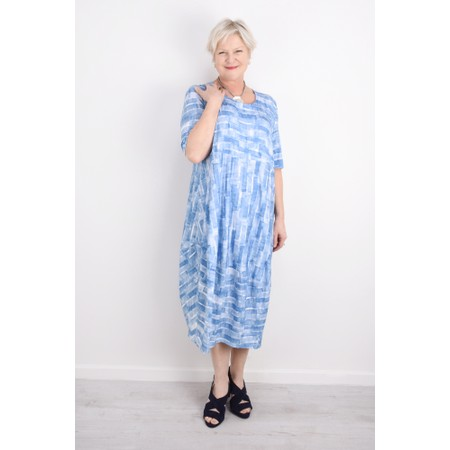 Sahara Scribble Mono Print Dress - Blue