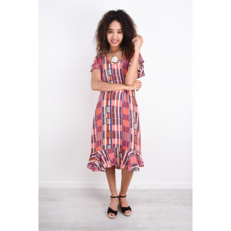Foil Abstract Print Ruffle Dress - Multicoloured