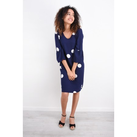 Sandwich Clothing Large Dot Frill Sleeve Dress - Blue