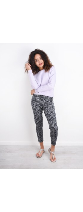 ICHI Kate Print Trouser Total Eclipse
